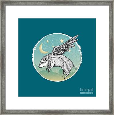 Pigs Fly - 2 Framed Print by Mary Machare