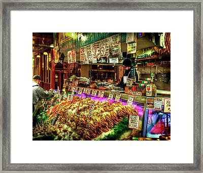 Pike Market Fresh Fish Framed Print by Greg Sigrist