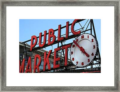 Framed Print featuring the photograph Pike Street Market Clock by Peter Simmons