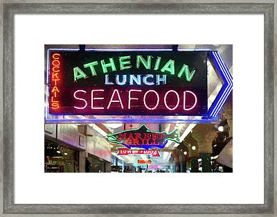 Pike Street Market Neon, Seattle Framed Print