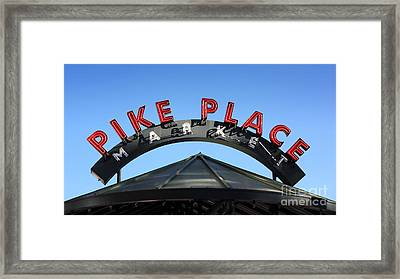 Framed Print featuring the photograph Pike Street Market Sign by Peter Simmons