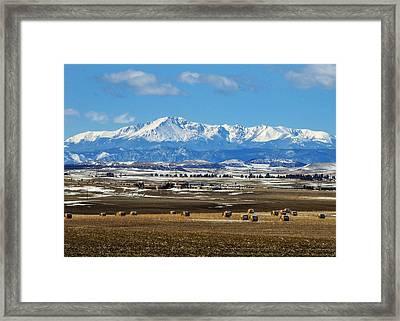 Pikes Peak And Hay Bales Framed Print