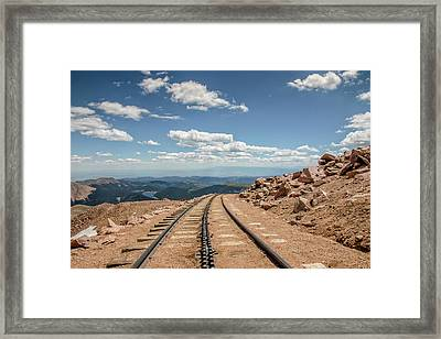 Pikes Peak Cog Railway Track At 14,110 Feet Framed Print by Peter Ciro