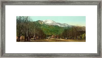 Pikes Peak - Colorado Springs 1898 Framed Print by Mountain Dreams