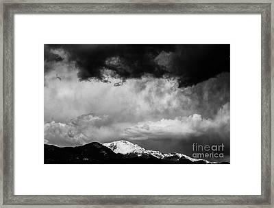 Pikes Peak Dramatic Skies Framed Print by Dennis Wagner