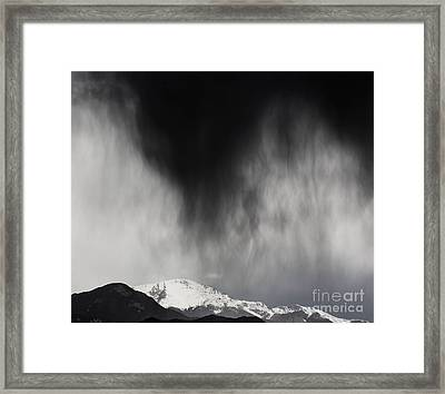 Pikes Peak Rain And Snow Framed Print by Dennis Wagner