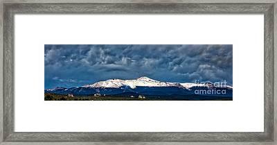 Pikes Peak West Side Framed Print by Dennis Wagner