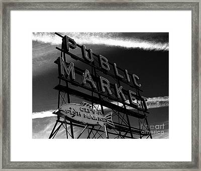 Pikes Place Market Sign Framed Print by Nick Gustafson