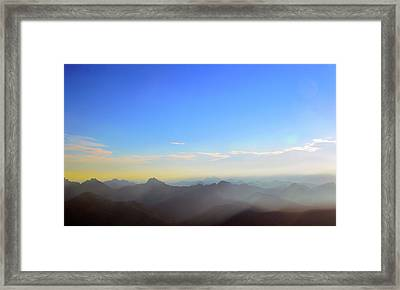Pilchuck And Three Sisters Sunrise Framed Print