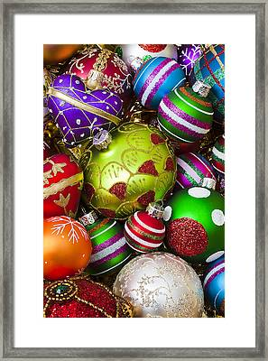 Pile Of Beautiful Ornaments Framed Print by Garry Gay