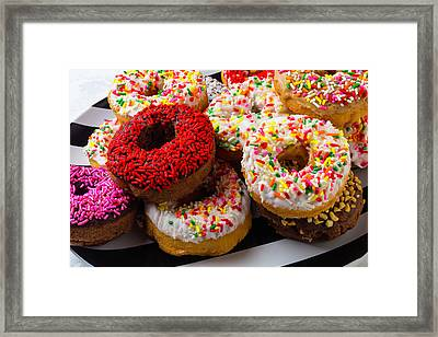 Pile Of Donuts Framed Print by Garry Gay