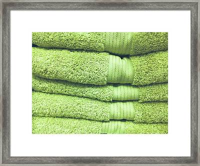 Pile Of Green Towels Framed Print