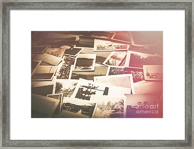 Pile Of Old Scattered Photos Framed Print