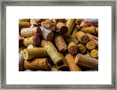 Pile Of Wine Corks Framed Print by Garry Gay