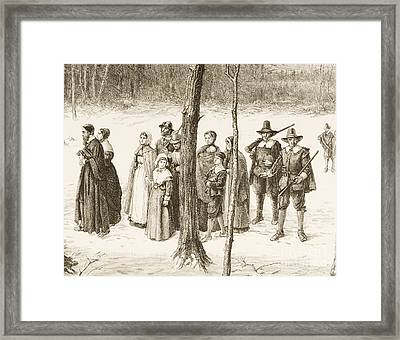 Pilgrim Fathers Going To Church Framed Print