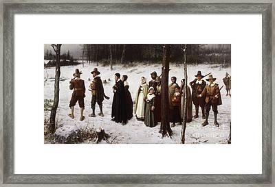 Pilgrims Going To Church, 1867 Framed Print