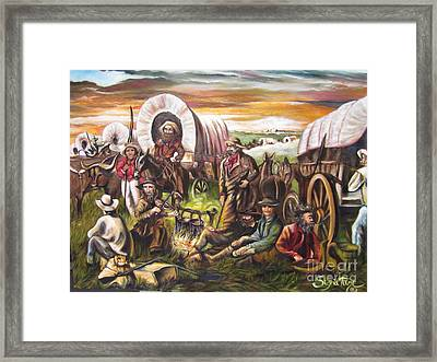 American    History  Pilgrims On The Plain Framed Print