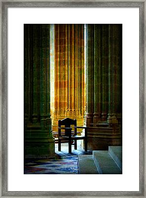 Pillars And Chair At Mont St Michel Framed Print by Susie Weaver