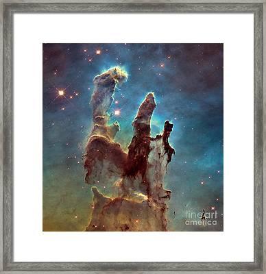 Pillars Of Creation Eagle Nebula Framed Print by ESA Hubble