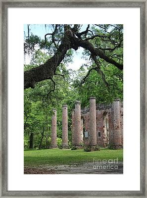 Pillars Of Sheldon Church Ruins Framed Print