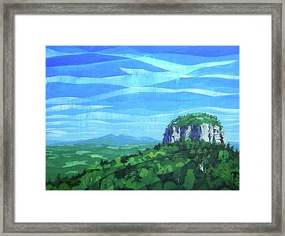 Framed Print featuring the painting Pilot Mountain by John Gibbs