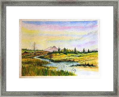 Pilot Mountain Nc And Stream Framed Print