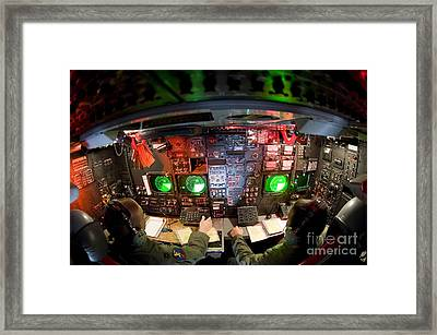 Pilots At The Controls Of A B-52 Framed Print by Stocktrek Images