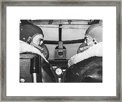 Pilots In B-25 Cockpit Framed Print by Underwood Archives