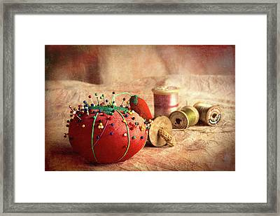 Pin Cushion And Wooden Thread Spools Framed Print