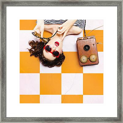 Pin-up Beauty Decision Making On Old Phone Framed Print by Jorgo Photography - Wall Art Gallery