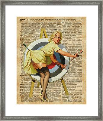 Pin Up Girl Archery Vintage Dictionary Art Framed Print by Jacob Kuch