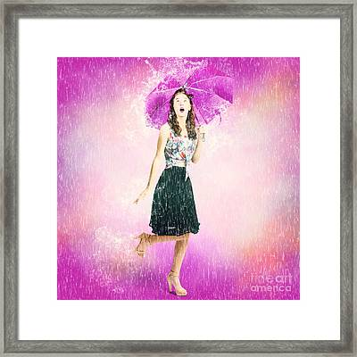 Pin-up Girl In Rain Downfall. Hop Skip And Jump Framed Print by Jorgo Photography - Wall Art Gallery
