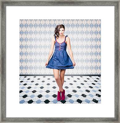 Pin Up Girl In Retro Style Framed Print by Jorgo Photography - Wall Art Gallery