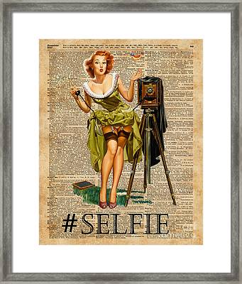 Pin Up Girl Making #selfie Vintage Dictionary Art Framed Print by Jacob Kuch