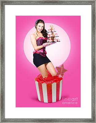 Pin-up Girl Popping Out Of Large Birthday Cake Framed Print by Jorgo Photography - Wall Art Gallery