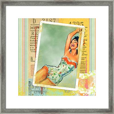 Pin Up Girl Square Framed Print by Edward Fielding