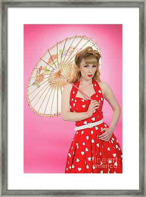 Pin Up Girl With Parasol Framed Print by Amanda Elwell