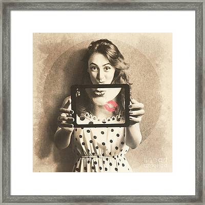 Pin Up Girl With Technology Love Framed Print by Jorgo Photography - Wall Art Gallery