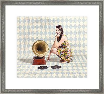 Pin Up Gramophone Girl Framed Print