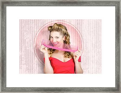 Pin Up Hairdresser Woman With Hair Salon Brush Framed Print