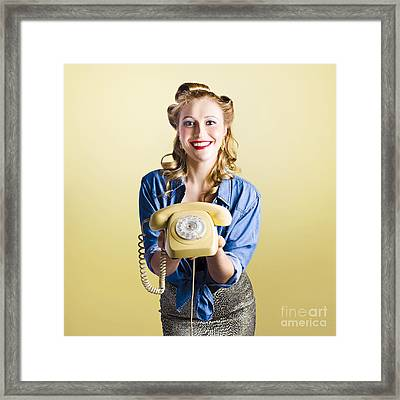 Pin-up Hotline Phone Operator. Call Us Framed Print by Jorgo Photography - Wall Art Gallery