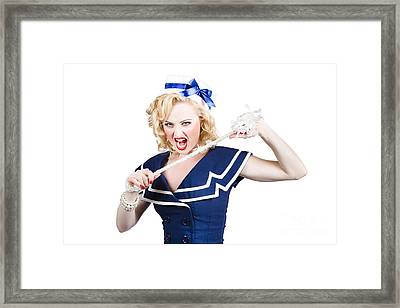 Pin Up Navy Girl Breaking Naval Rope With Strength Framed Print