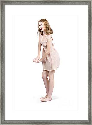 Pin Up Portrait Of A Beautiful Model Girl Framed Print