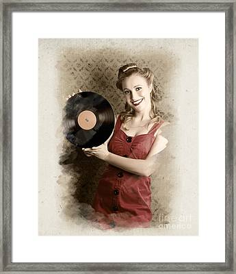 Pin-up Rockabilly Woman Holding Vinyl Record Lp Framed Print