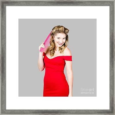 Pin-up Styled Fashion Model With Classic Hairstyle Framed Print by Jorgo Photography - Wall Art Gallery