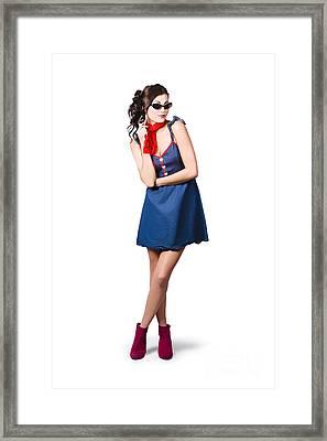 Pin Up Styling Fashion Girl In Retro Denim Dress Framed Print
