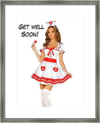 Pin Up Woman Posing In Nurse Uniform Framed Print