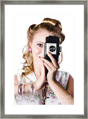 Pin-up Woman Using Film Camera Framed Print by Jorgo Photography - Wall Art Gallery