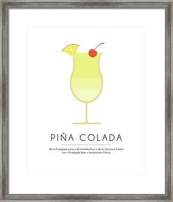 Pina Colada Classic Cocktail - Minimalist Print Framed Print