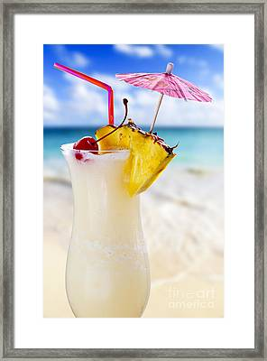 Pina Colada Cocktail On The Beach Framed Print by Elena Elisseeva